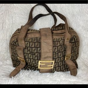 FENDI Brown Zucca Leather Satchel - Vintage